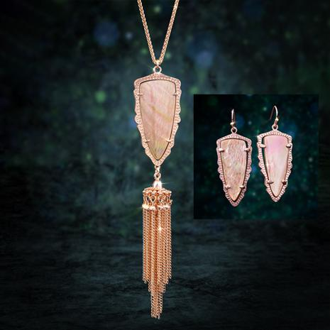 Pink Mother-of-Pearl Arrowhead Necklace & Earring Set