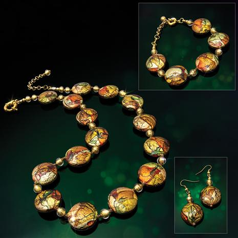 Murano Sunset Necklace, Bracelet & Earrings
