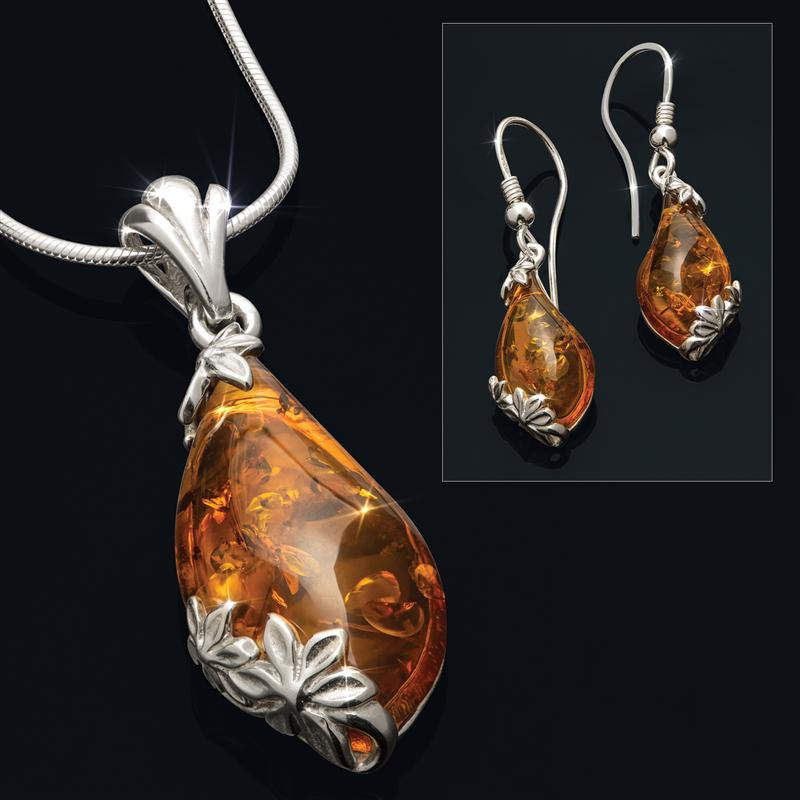 Drops of Amber Necklace & Earrings