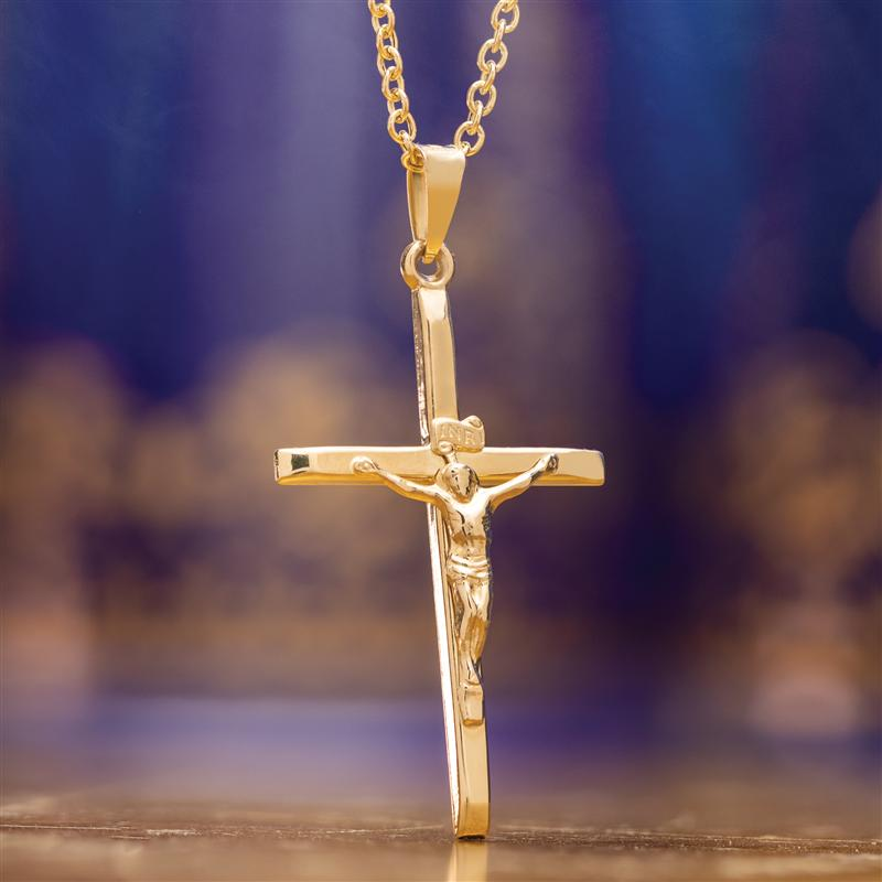 Cross Pendant plus 14K Italian Yellow Gold Rolo Link Chain