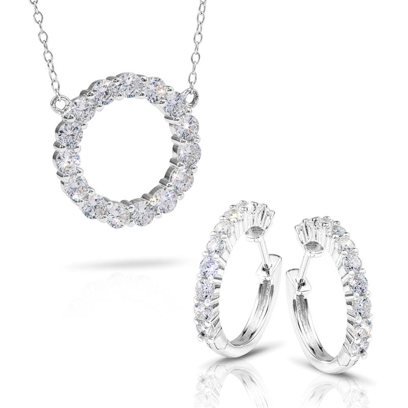 Sterling Silver Eternity Necklace and Earrings