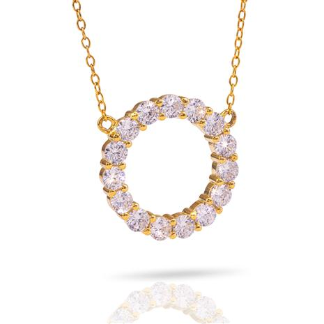"""Yellow Gold-Finished Eternity Necklace 18"""""""