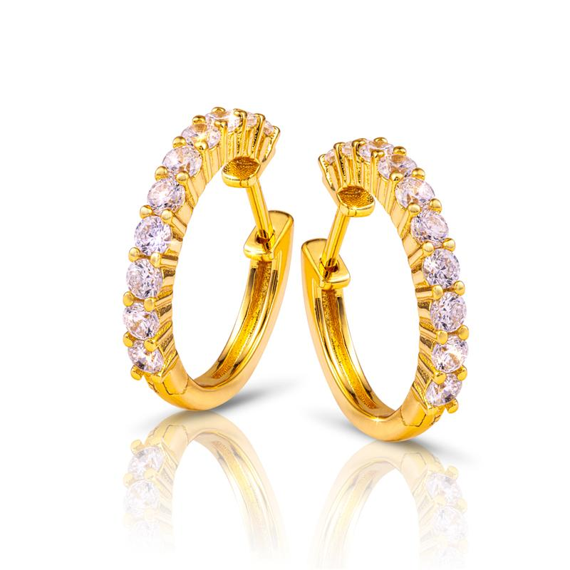 Yellow Gold-Finished Sterling Silver Eternity Earrings