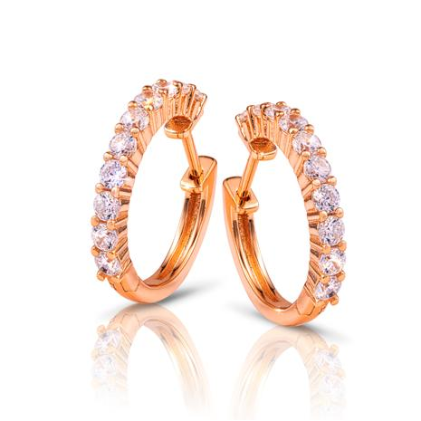 Rose Gold-Finished Sterling Silver Eternity Earrings