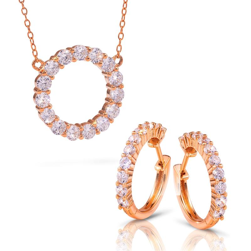 Rose Gold-Finished Sterling Silver Eternity Necklace and Earrings