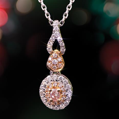 18K White & Yellow Gold Pink & White Diamond Necklace