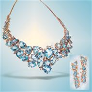 Pear-cut Blue Topaz Statement Necklace & Earrings