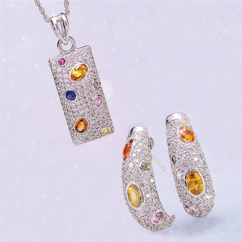 Multi-Sapphire Earring and Necklace Set