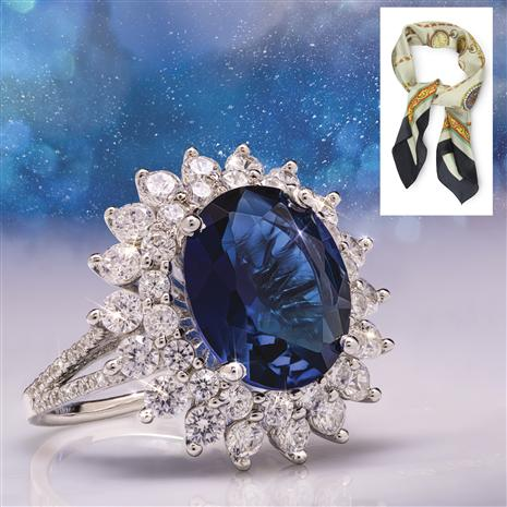 Blue Helenite Princess Ring plus FREE Scarf