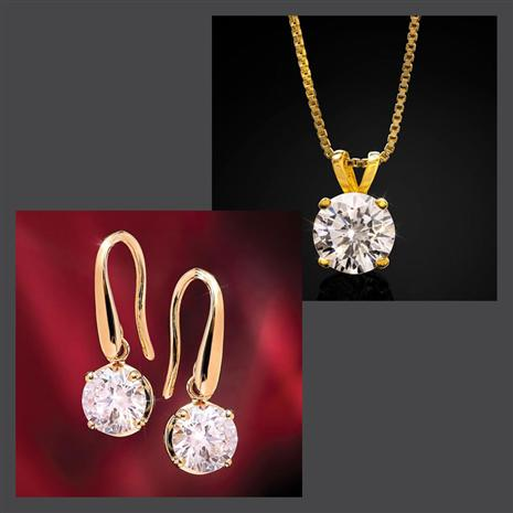 Gold-Finished Sparkle Earrings & Necklace