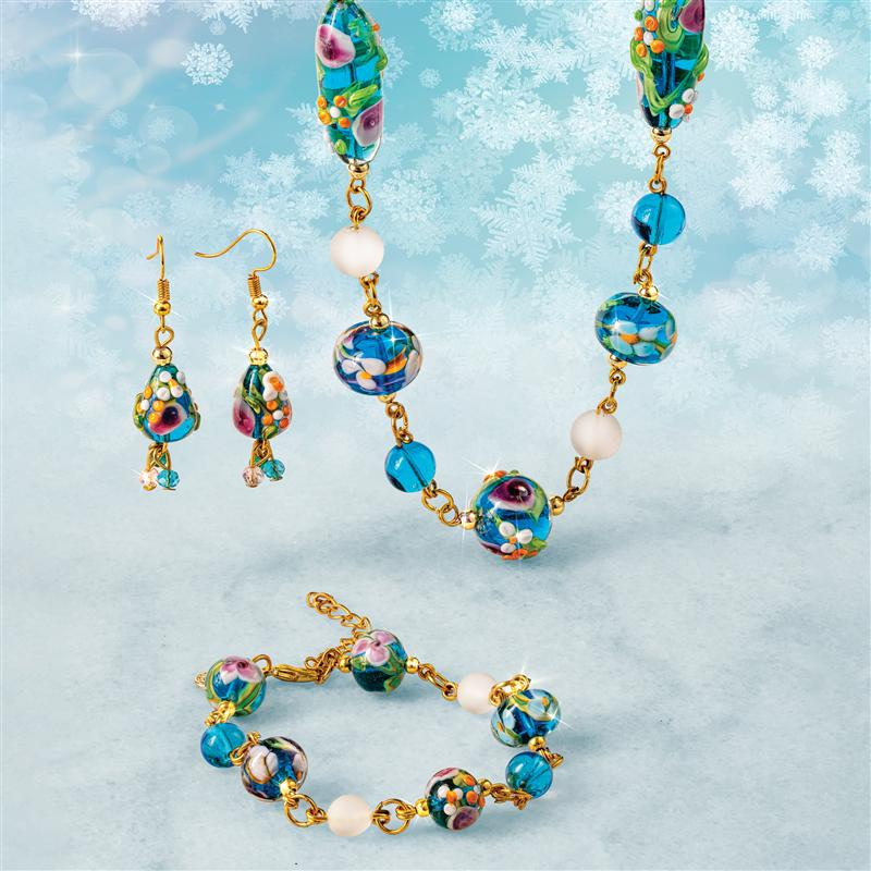 Murano Blue Floral Necklace, Bracelet and Earrings