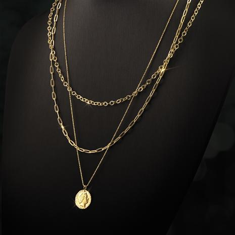 14K Gold 3-Strand Coin Necklace