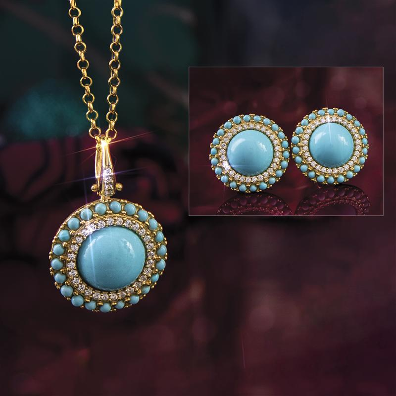 Turchese Italiano Pendant, Chain and Earrings