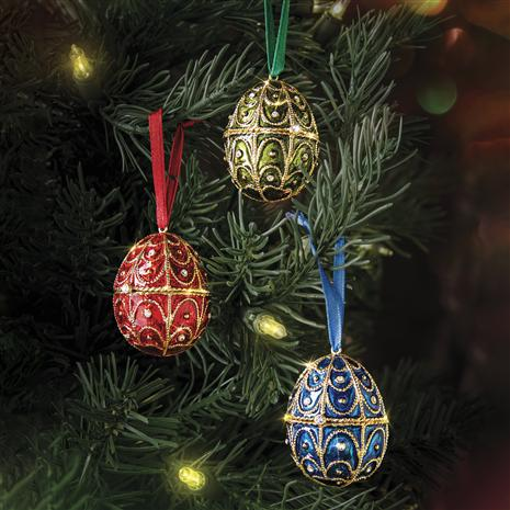 Jewel Tone Egg Ornaments (Set of 3)
