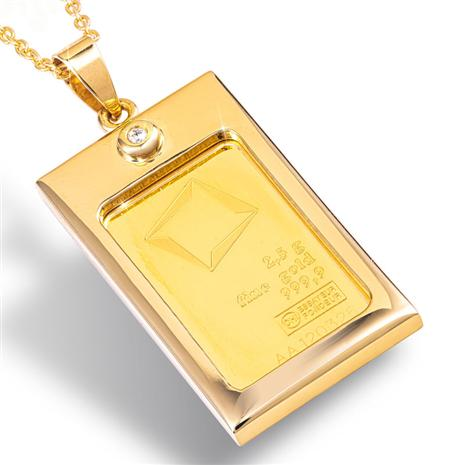 Swiss Valcambi 2-1/2 gram gold ingot and diamond necklace