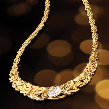 14K Yellow Gold Moissanite Byzantine Necklace (2 carat)