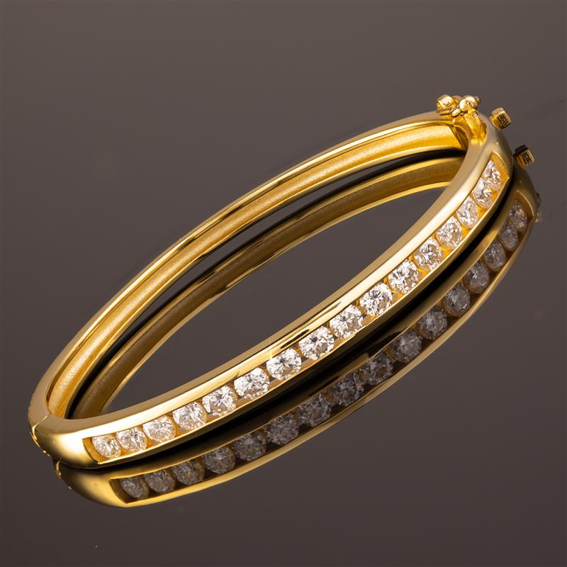 Yellow-Gold Finished Sterling Silver Moissanite Channel Bracelet