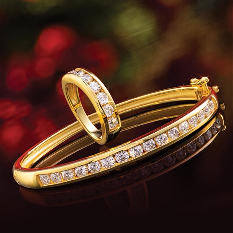 Yellow-Gold Finished Sterling Silver Moissanite Channel Ring & Bracelet