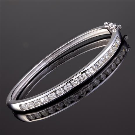 Rhodium-Finished Sterling Silver Moissanite Channel Bracelet