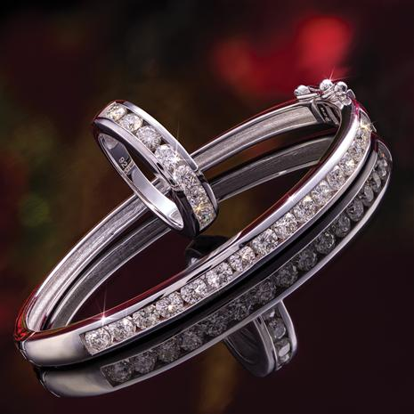 Rhodium-Finished Sterling Silver Moissanite Channel Ring & Bracelet