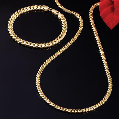 14K Italian Gold Cubano Necklace & Bracelet