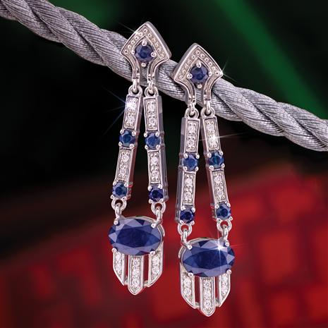 Deco Sapphire Gem Drop Earrings