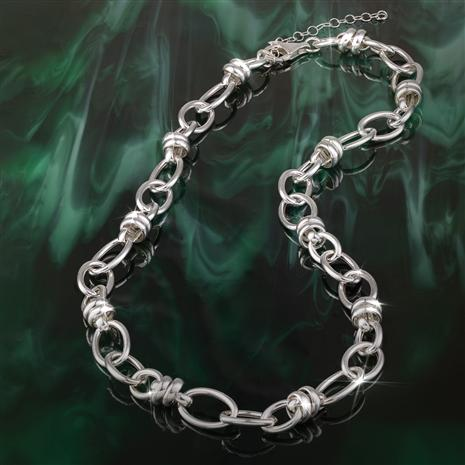 Italian Sterling Silver Duetto Link Necklace