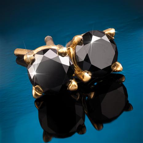 14K Yellow Gold Finished Noire Black Diamond Stud Earrings