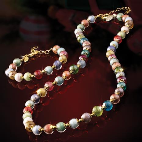 Murano Rainbow Necklace and Bracelet