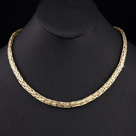 14K Italian Gold Wheat Link Necklace