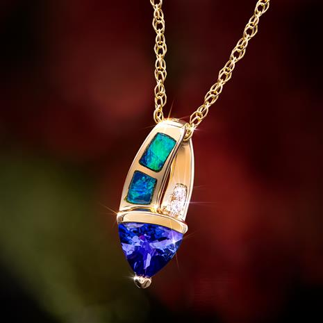 14K Yellow Gold  Trillion Tanzanite and Opal Necklace