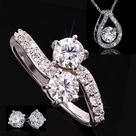 Moissanite Forever Ring, Necklace and Earrings