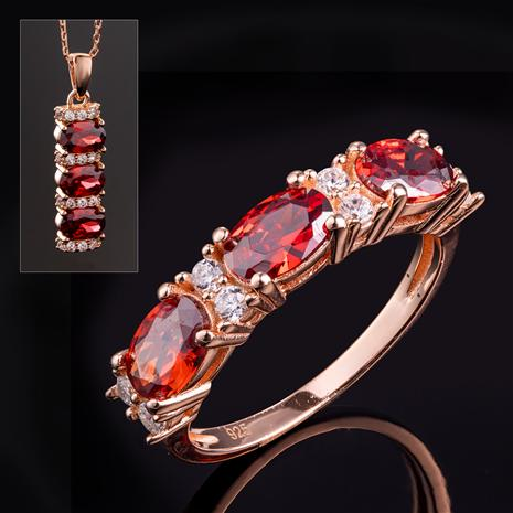 Stress-Free Glamour Ring & Necklace (Ruby Red)