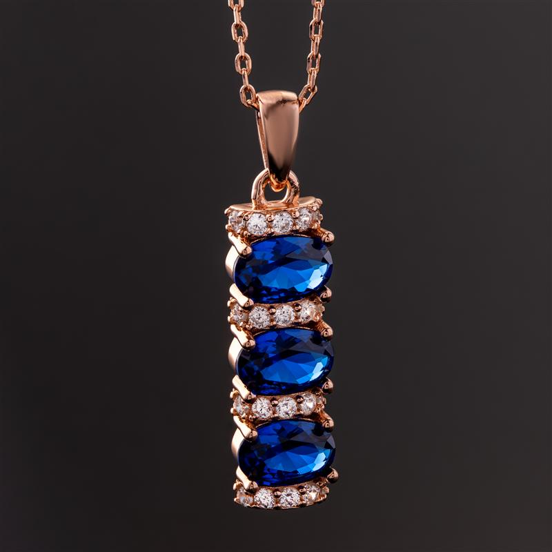 Stress-Free Glamour Necklace (Sapphire Blue)