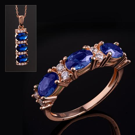 Stress-Free Glamour Ring & Necklace (Sapphire Blue)