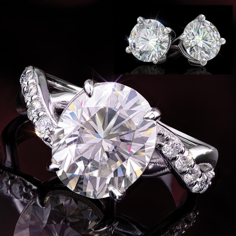 Oval Cut Moissanite Ring and Earrings