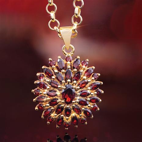 Red Garnet Sunburst Pendant