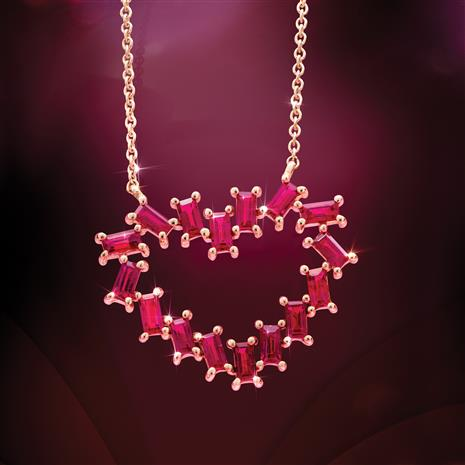 14K Yellow Gold Ruby Heart Necklace