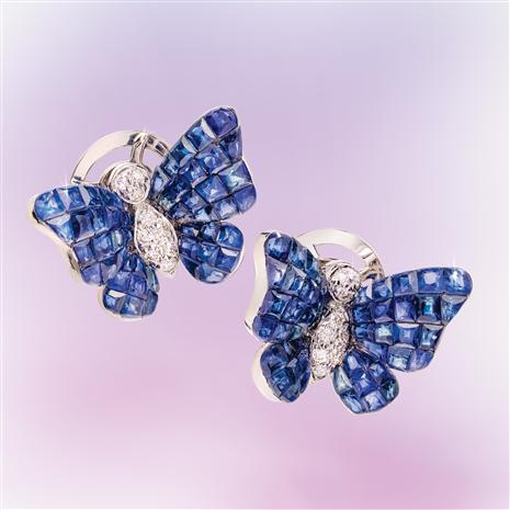 18K White Gold Invisible Set Sapphire & Diamond Butterfly Earrings
