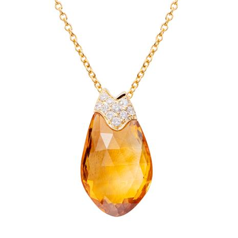 18K Gold Fancy Cut Citrine and DiamondNecklace