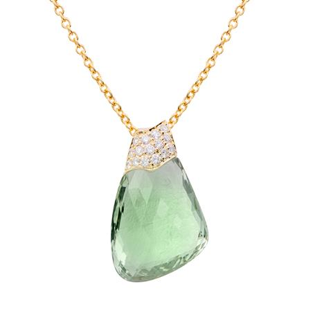 18K Gold Fancy Cut Green Amethyst and Diamond Necklace