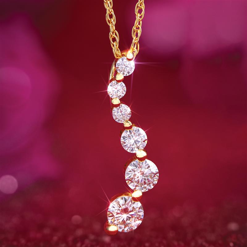 Moissanite Love Constellation Gold-finished Pendant & Chain