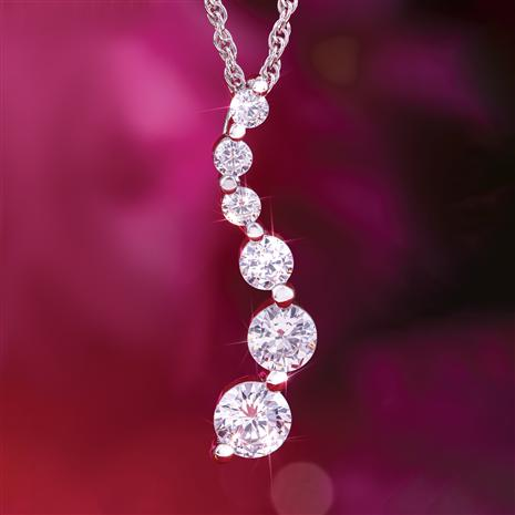 Moissanite Love Constellation Rhodium finished Pendant & Chain
