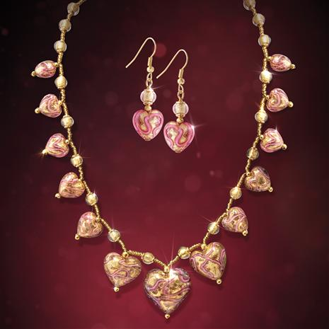 Be Mine Murano Necklace and Earrings