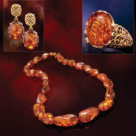 Honey Amber Ring & Cherry Amber Necklace & Earring