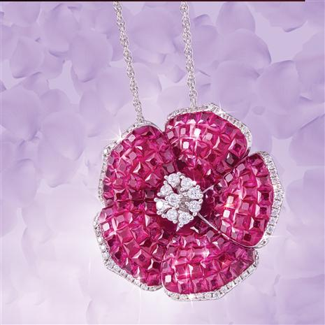 Ruby Red Flower Pendant & Chain