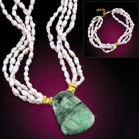 "Emerald & Pearl Empress Necklace & 4-Strand Pearl Bracelet Making ""herstory"""