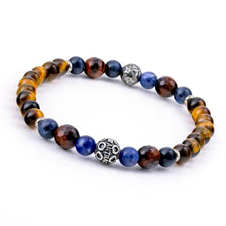 Italian-Made Artisan Stone Bracelet (Brown & Red Tiger's Eye & Sodalite)