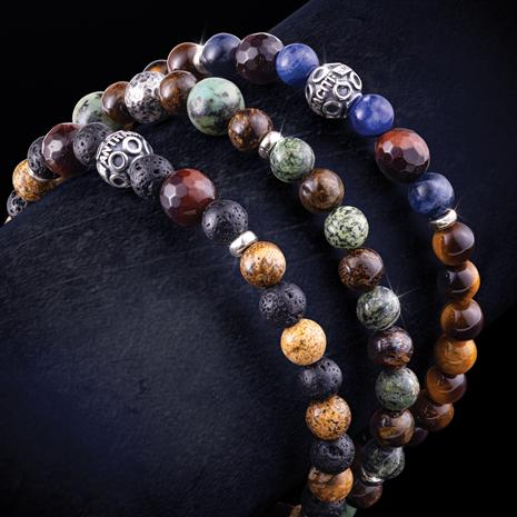 Italian-Made Artisan Stone Bracelet (Set of 3)