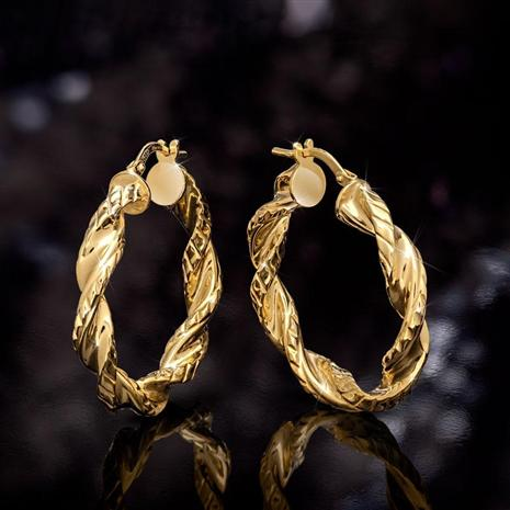 "Italian Made Torcersi Twist Earrings (1"")"